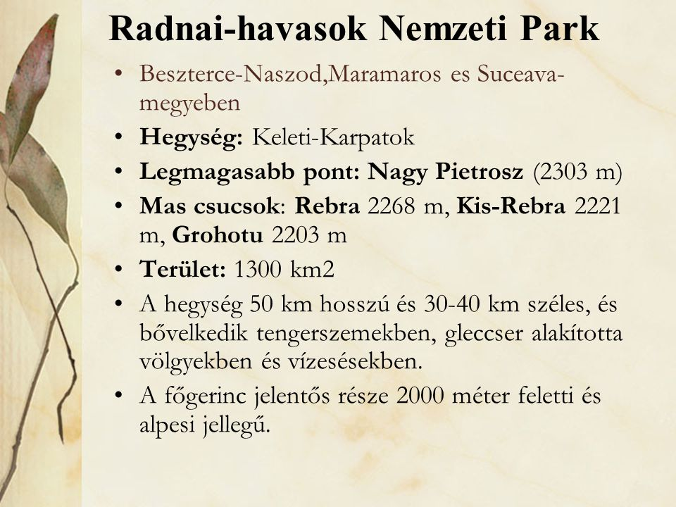 Radnai-havasok Nemzeti Park