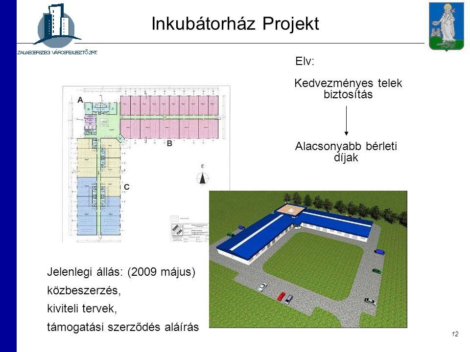 Inkubátorház Projekt Elv: Kedvezményes telek biztosítás