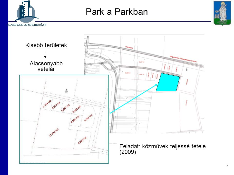 Park a Parkban Kisebb területek Alacsonyabb vételár