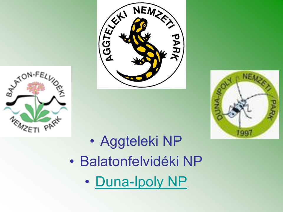 Aggteleki NP Balatonfelvidéki NP Duna-Ipoly NP