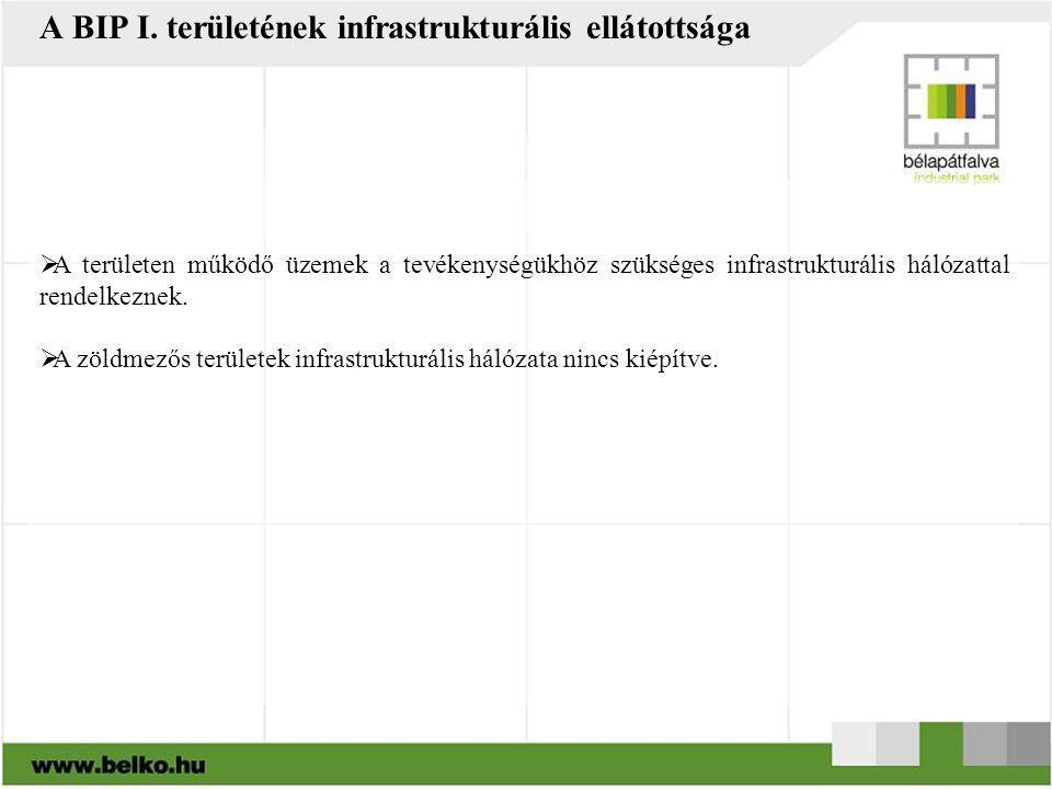 A BIP I. területének infrastrukturális ellátottsága