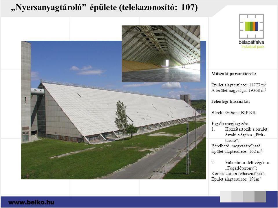 """""""Nyersanyagtároló épülete (telekazonosító: 107)"""