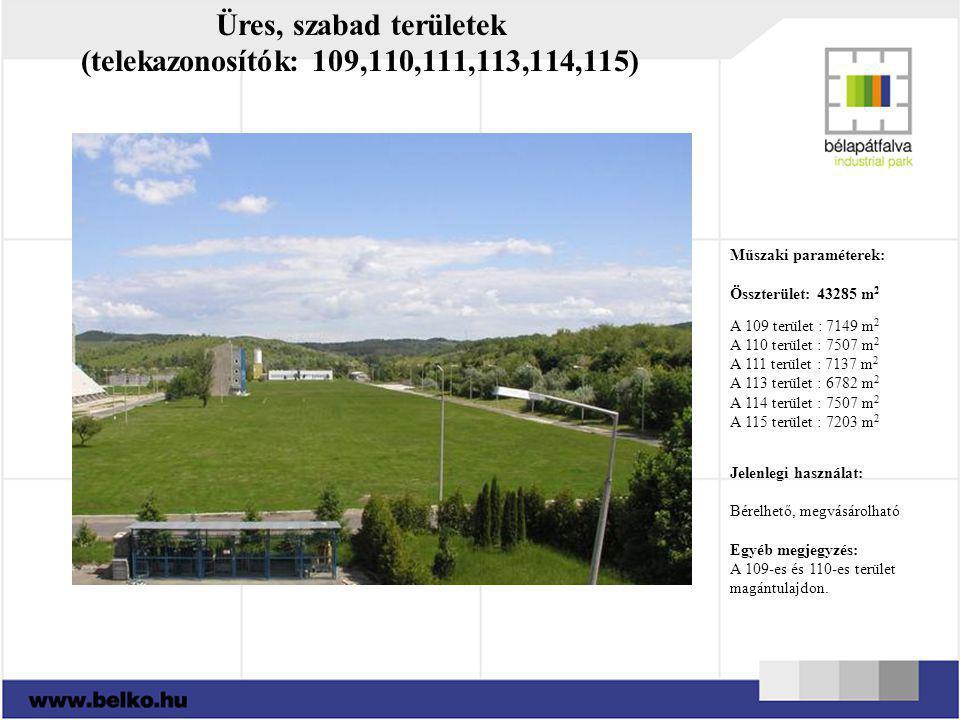 Üres, szabad területek (telekazonosítók: 109,110,111,113,114,115)
