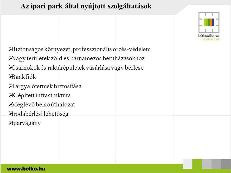 Az ipari park által nyújtott szolgáltatások