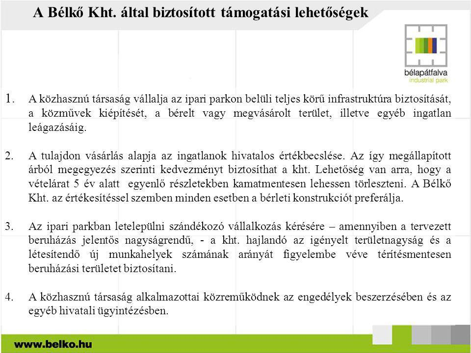 A Bélkő Kht. által biztosított támogatási lehetőségek