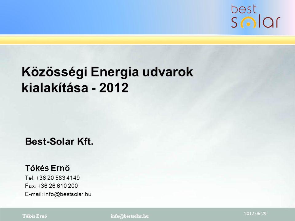 Közösségi Energia udvarok kialakítása - 2012