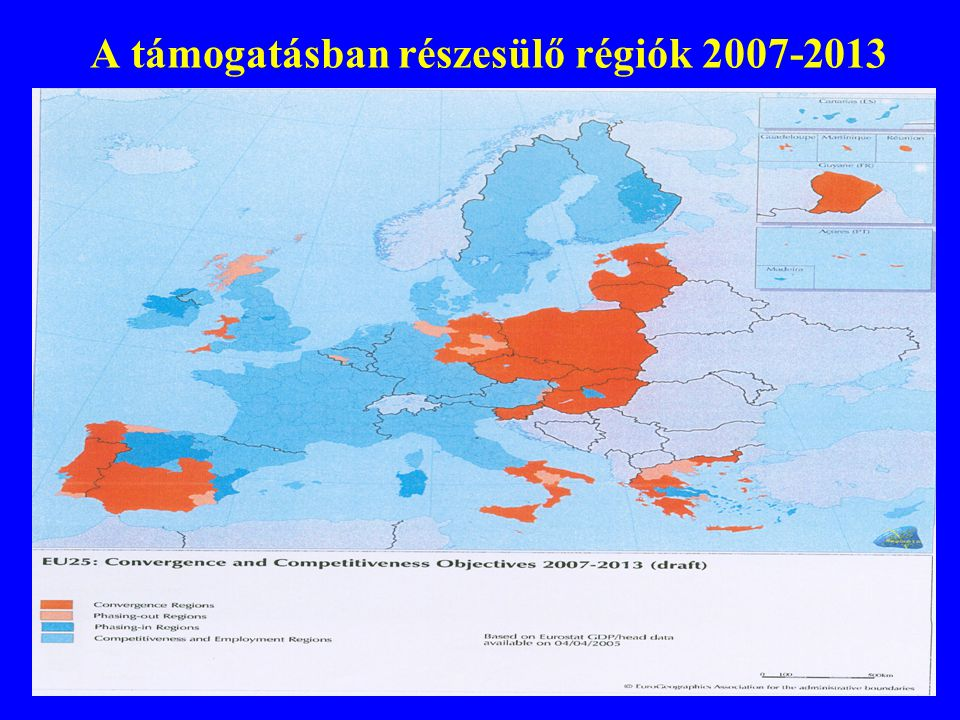 A támogatásban részesülő régiók 2007-2013