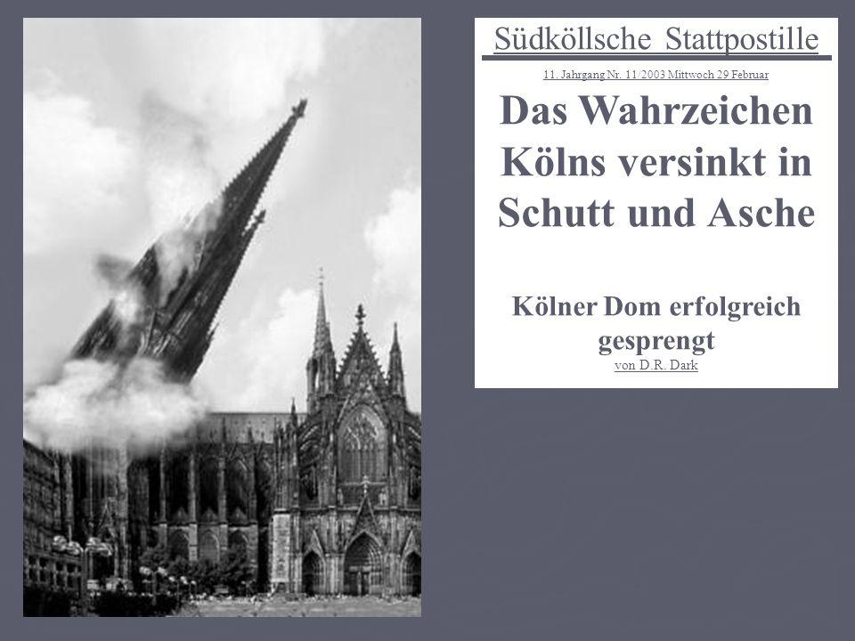 Das Wahrzeichen Kölns versinkt in Schutt und Asche