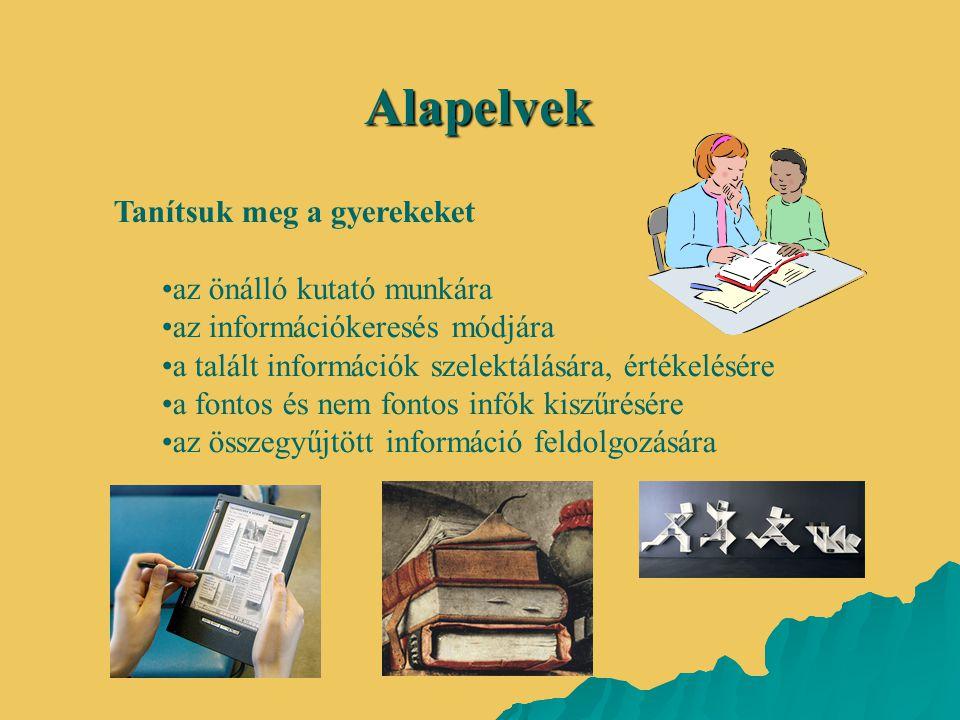 Alapelvek Tanítsuk meg a gyerekeket az önálló kutató munkára