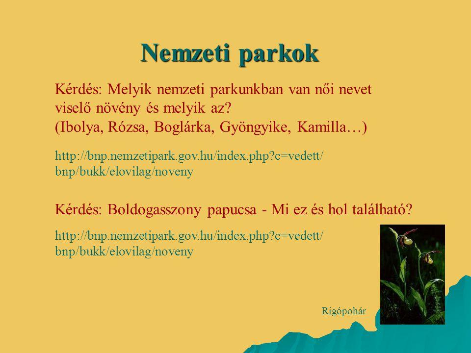 Nemzeti parkok Kérdés: Melyik nemzeti parkunkban van női nevet viselő növény és melyik az (Ibolya, Rózsa, Boglárka, Gyöngyike, Kamilla…)
