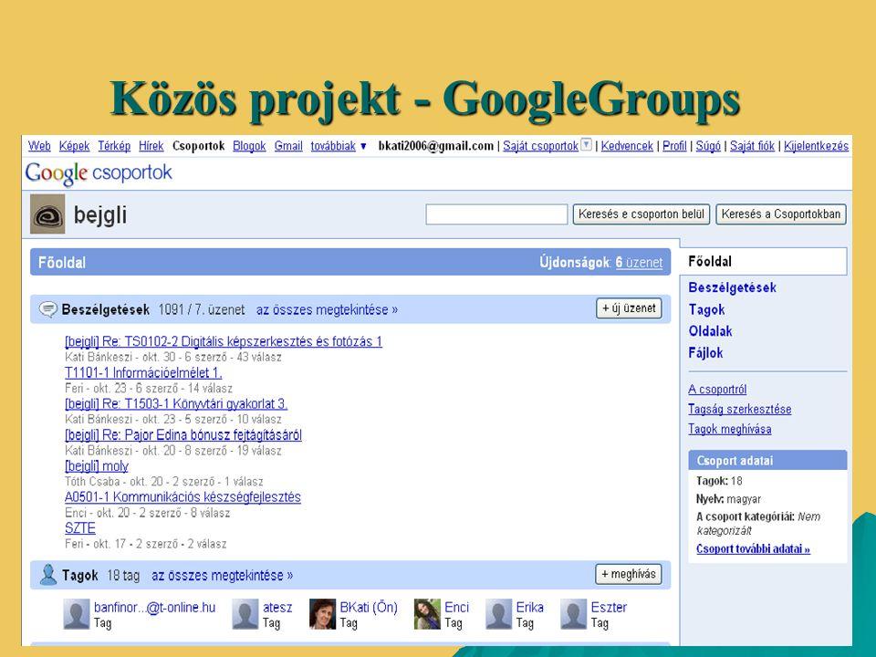 Közös projekt - GoogleGroups