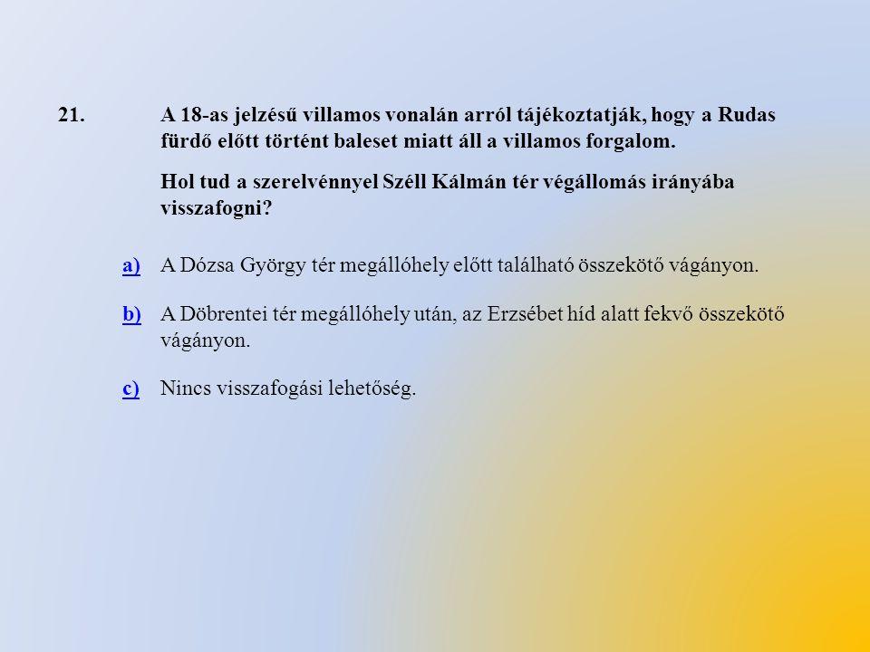 21. A 18-as jelzésű villamos vonalán arról tájékoztatják, hogy a Rudas fürdő előtt történt baleset miatt áll a villamos forgalom.