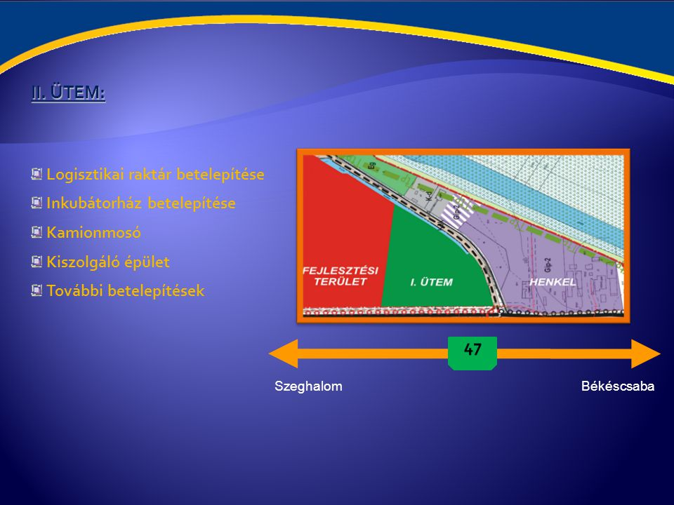 II. ÜTEM: Logisztikai raktár betelepítése Inkubátorház betelepítése