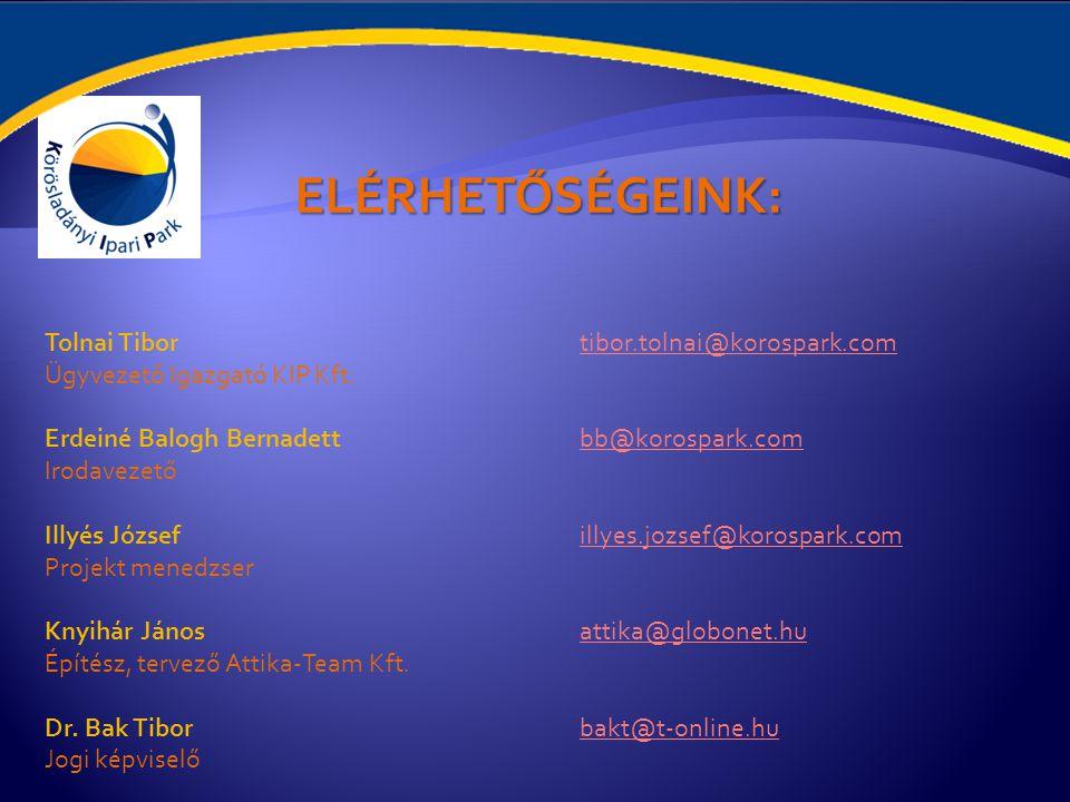 ELÉRHETŐSÉGEINK: Tolnai Tibor tibor.tolnai@korospark.com