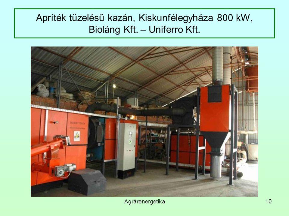 Apríték tüzelésű kazán, Kiskunfélegyháza 800 kW, Bioláng Kft