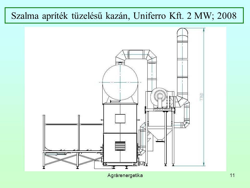 Szalma apríték tüzelésű kazán, Uniferro Kft. 2 MW; 2008