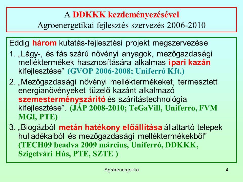 A DDKKK kezdeményezésével Agroenergetikai fejlesztés szervezés 2006-2010