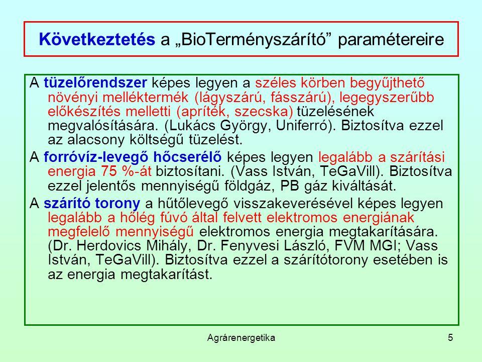 """Következtetés a """"BioTerményszárító paramétereire"""