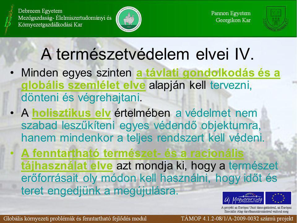 A természetvédelem elvei IV.