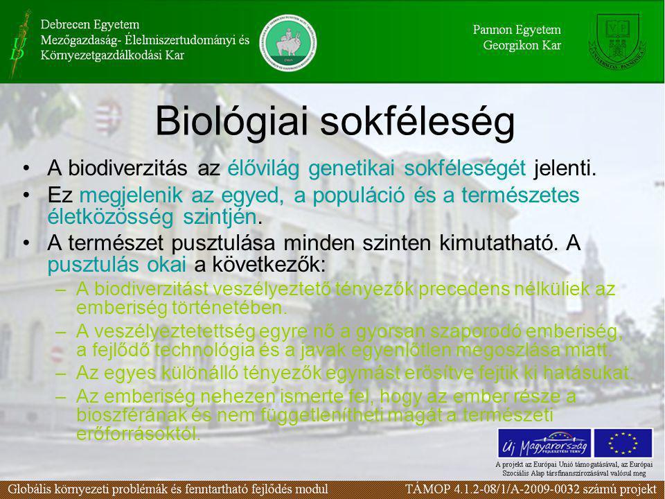 Biológiai sokféleség A biodiverzitás az élővilág genetikai sokféleségét jelenti.