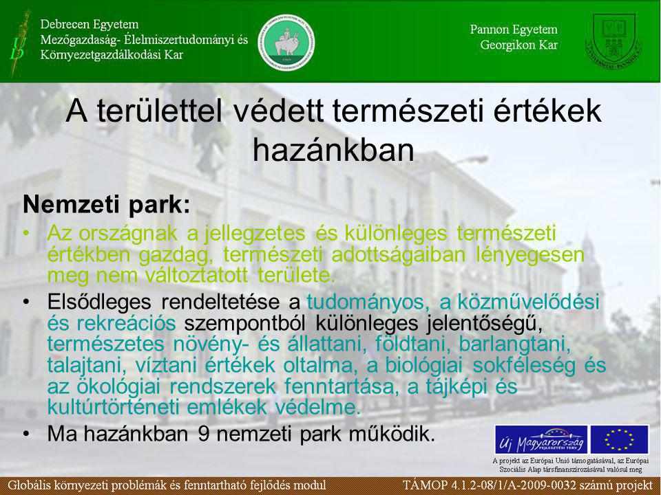 A területtel védett természeti értékek hazánkban