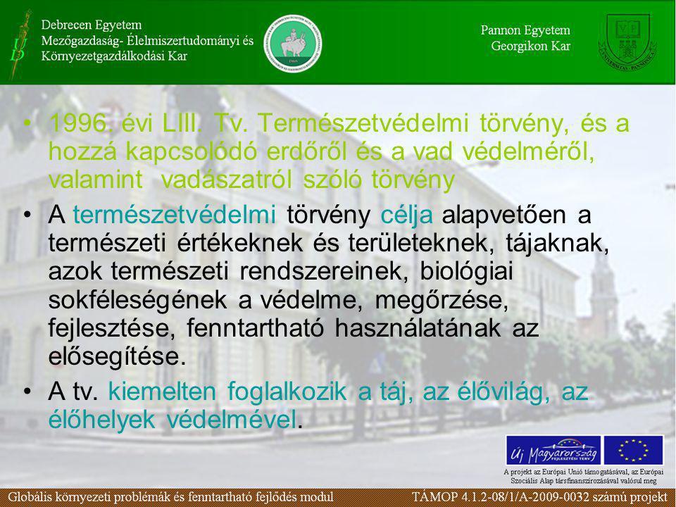 1996. évi LIII. Tv. Természetvédelmi törvény, és a hozzá kapcsolódó erdőről és a vad védelméről, valamint vadászatról szóló törvény