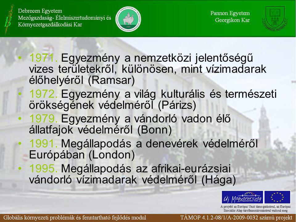1971. Egyezmény a nemzetközi jelentőségű vizes területekről, különösen, mint vízimadarak élőhelyéről (Ramsar)
