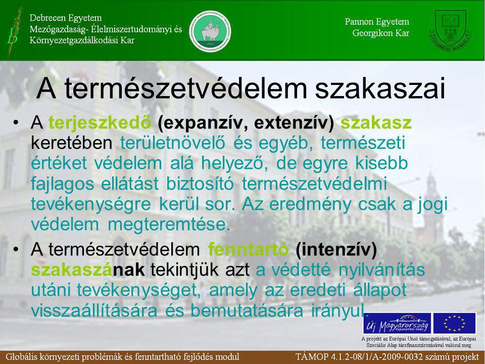 A természetvédelem szakaszai