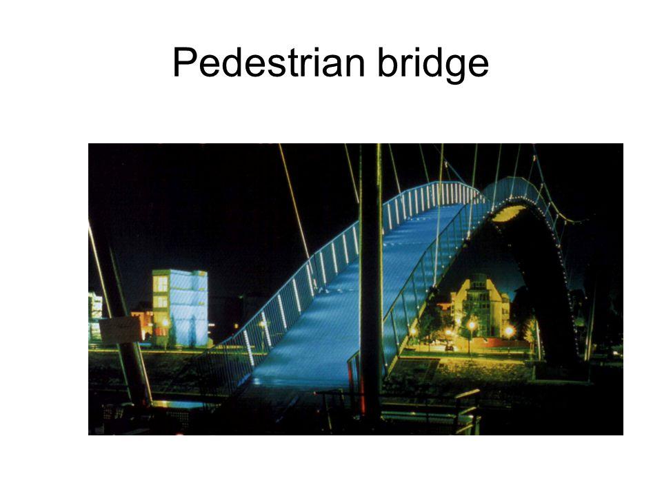 Pedestrian bridge A Duisburg-i kikötőben gyalogos híd járdájának világítása (Stadtmarketing mit Licht, Fördergemeinschaft Gutes Licht, Nr.