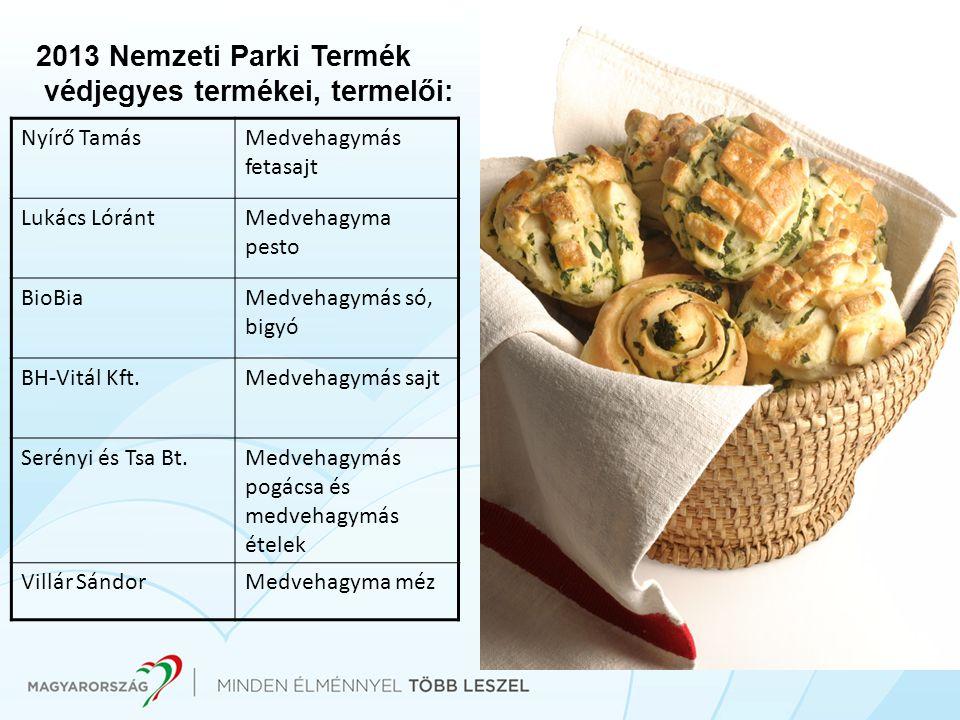 2013 Nemzeti Parki Termék védjegyes termékei, termelői: