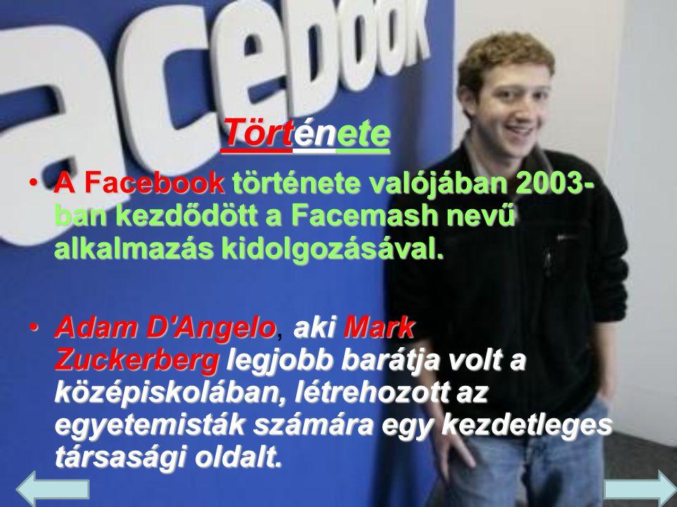 Története A Facebook története valójában 2003-ban kezdődött a Facemash nevű alkalmazás kidolgozásával.