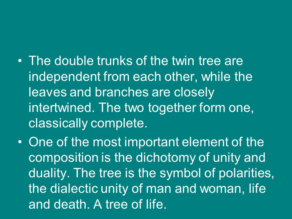 The double trunks of the twin tree are independent from each other, while the leaves and branches are closely intertwined. The two together form one, classically complete.