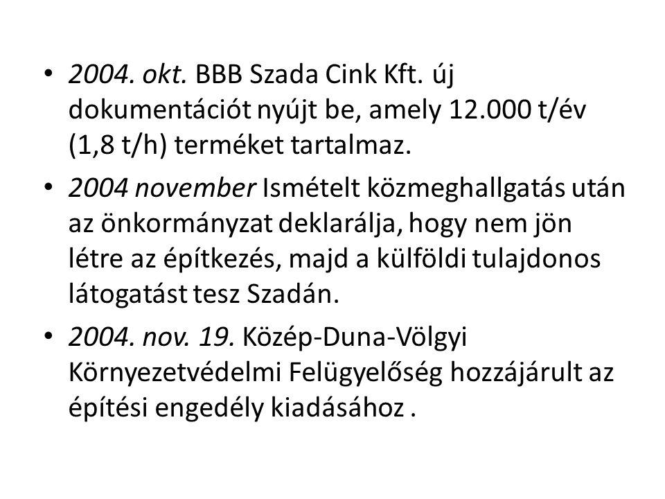 2004. okt. BBB Szada Cink Kft. új dokumentációt nyújt be, amely 12
