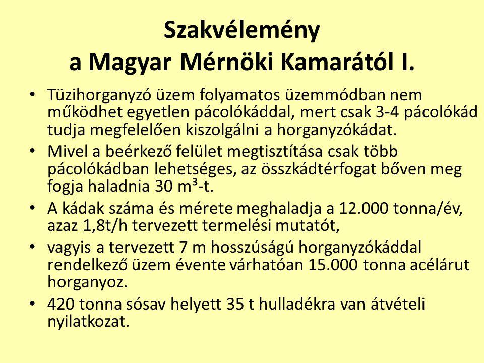 Szakvélemény a Magyar Mérnöki Kamarától I.