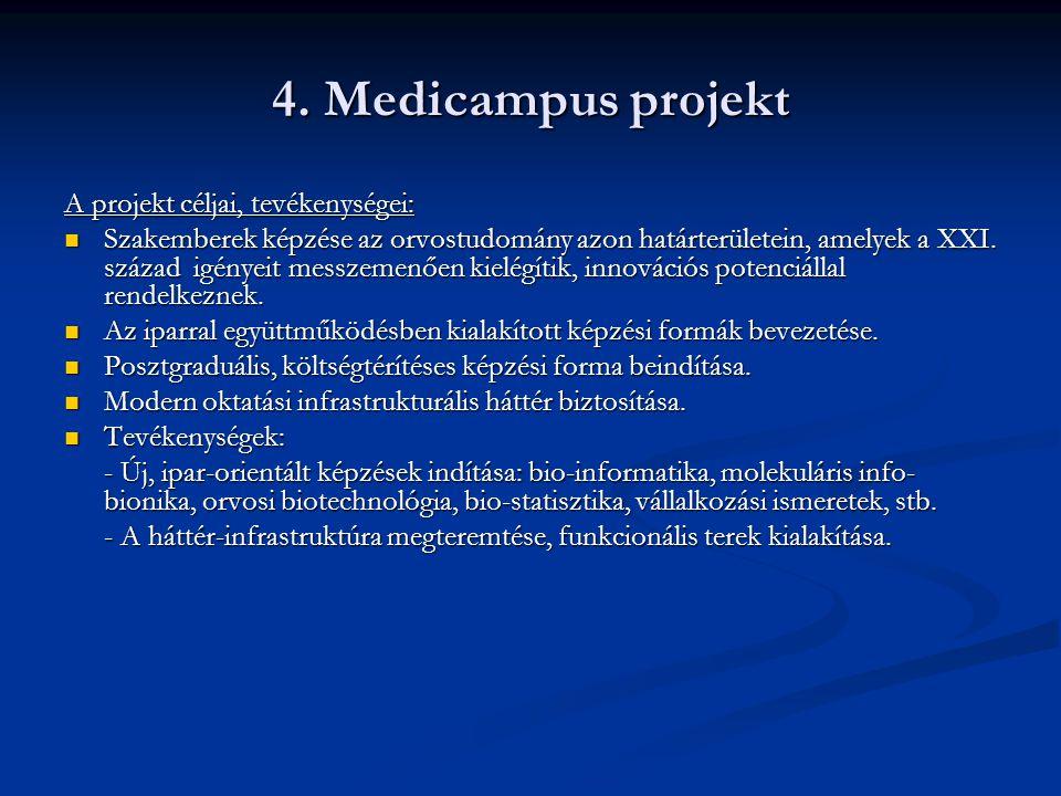 4. Medicampus projekt A projekt céljai, tevékenységei: