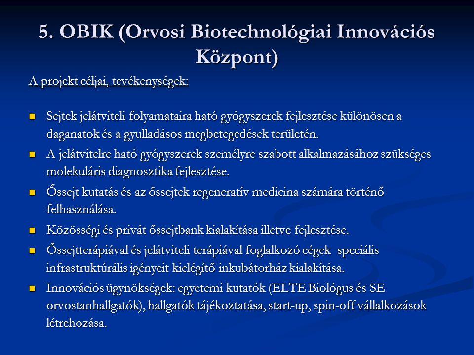 5. OBIK (Orvosi Biotechnológiai Innovációs Központ)