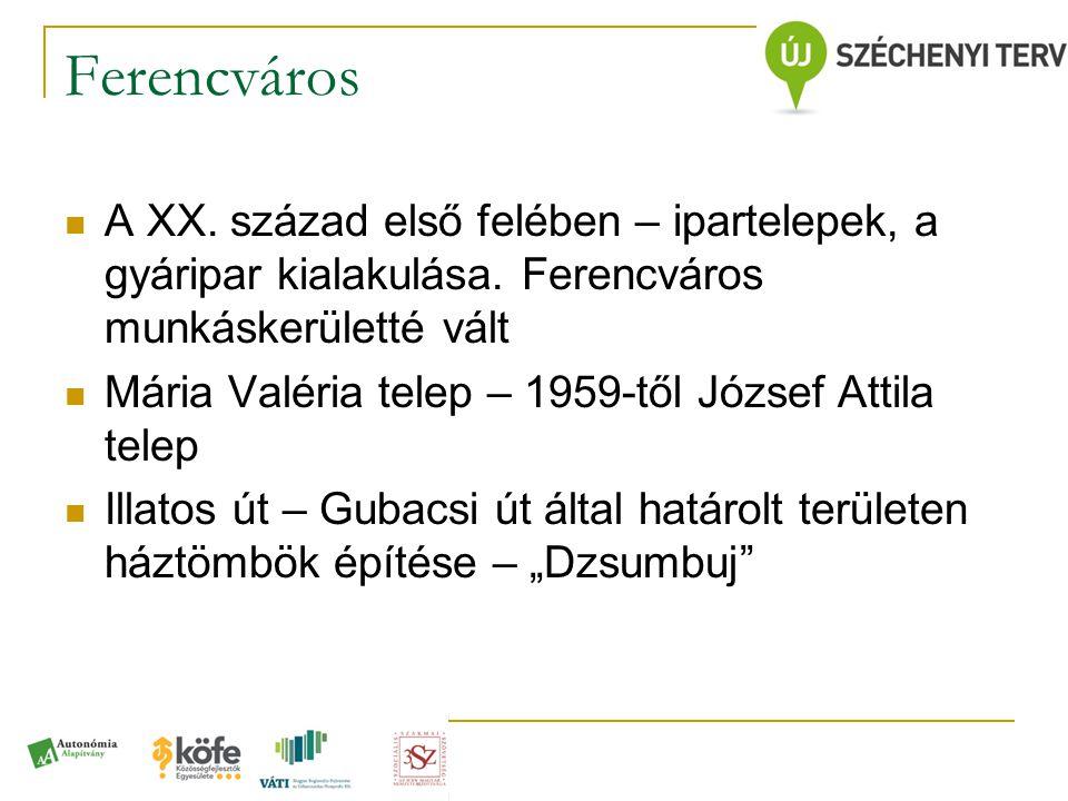Ferencváros A XX. század első felében – ipartelepek, a gyáripar kialakulása. Ferencváros munkáskerületté vált.