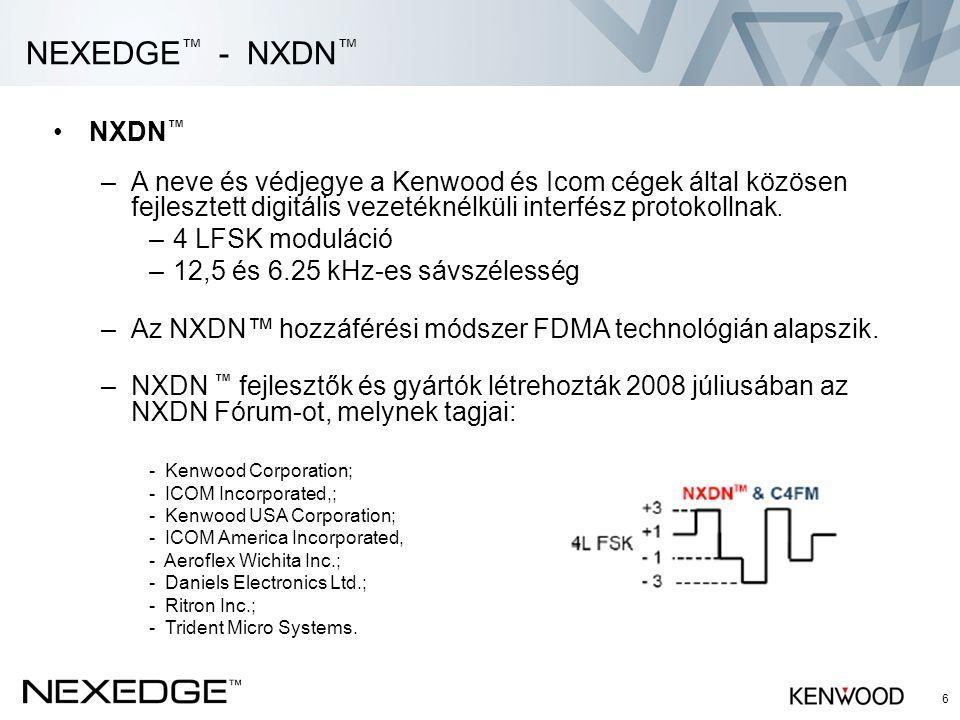 NEXEDGE™ - NXDN™ NXDN™ A neve és védjegye a Kenwood és Icom cégek által közösen fejlesztett digitális vezetéknélküli interfész protokollnak.