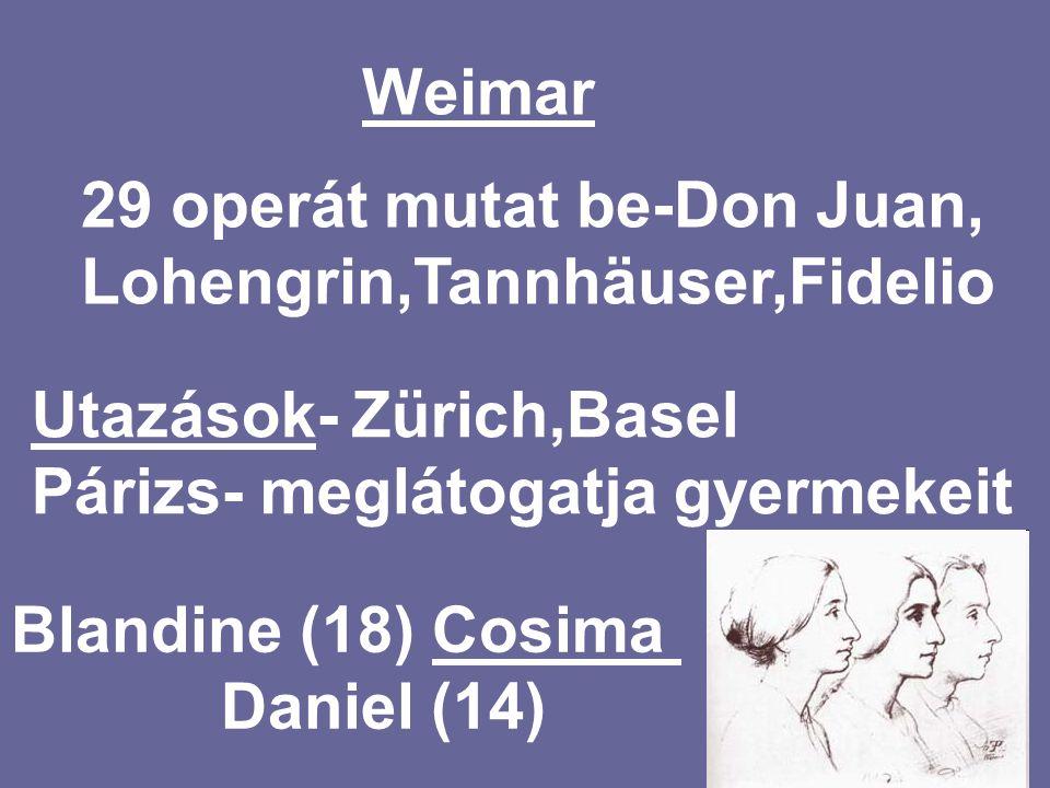 Weimar 29 operát mutat be-Don Juan, Lohengrin,Tannhäuser,Fidelio. Utazások- Zürich,Basel. Párizs- meglátogatja gyermekeit.