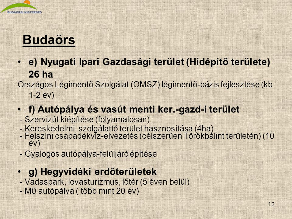 Budaörs e) Nyugati Ipari Gazdasági terület (Hídépítő területe) 26 ha