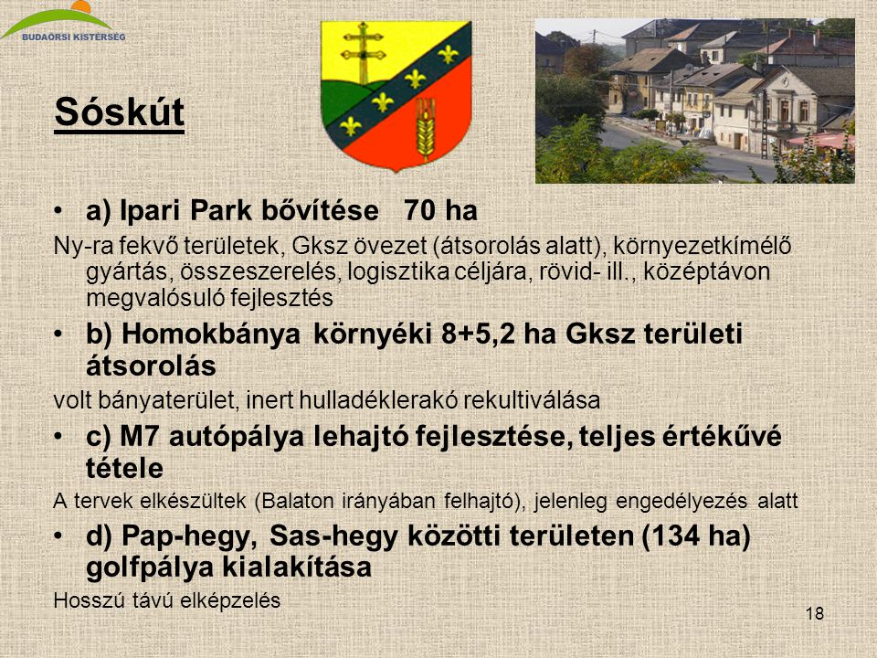 Sóskút a) Ipari Park bővítése 70 ha
