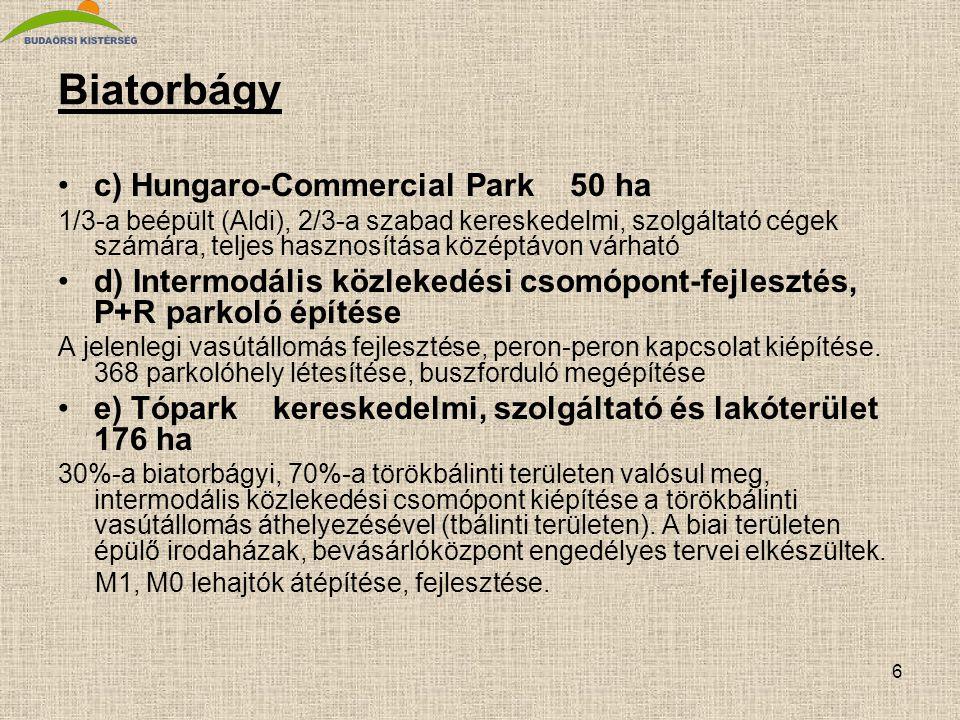 Biatorbágy c) Hungaro-Commercial Park 50 ha