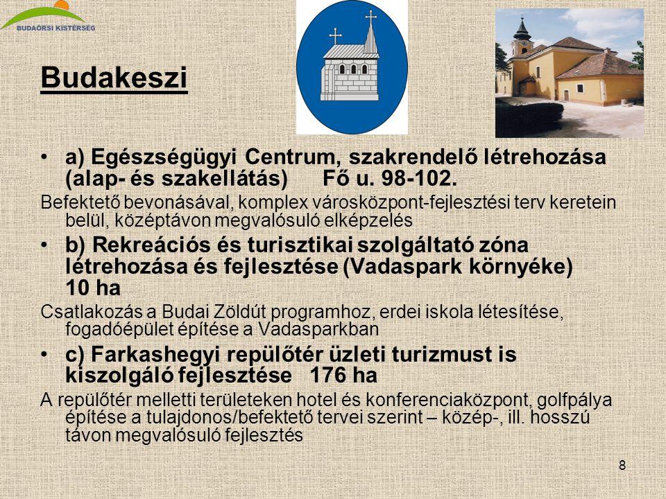 Budakeszi a) Egészségügyi Centrum, szakrendelő létrehozása (alap- és szakellátás) Fő u. 98-102.