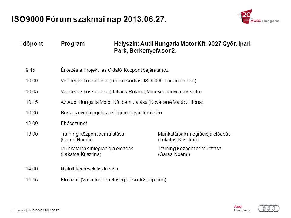ISO9000 Fórum szakmai nap 2013.06.27. Időpont Program