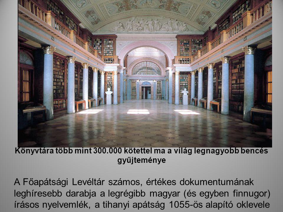 Könyvtára több mint 300.000 kötettel ma a világ legnagyobb bencés gyűjteménye