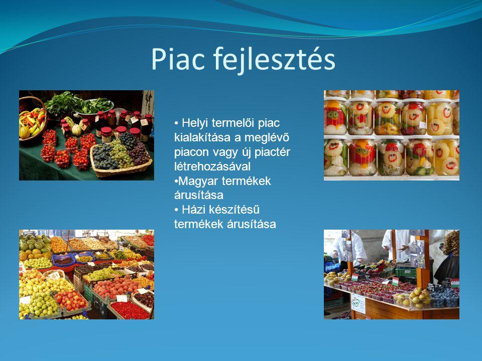 Piac fejlesztés Helyi termelői piac kialakítása a meglévő piacon vagy új piactér létrehozásával. Magyar termékek árusítása.