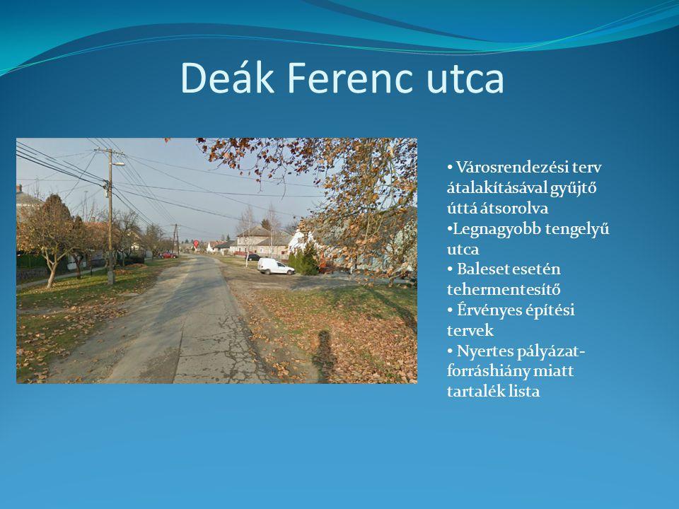 Deák Ferenc utca Városrendezési terv átalakításával gyűjtő úttá átsorolva. Legnagyobb tengelyű utca.