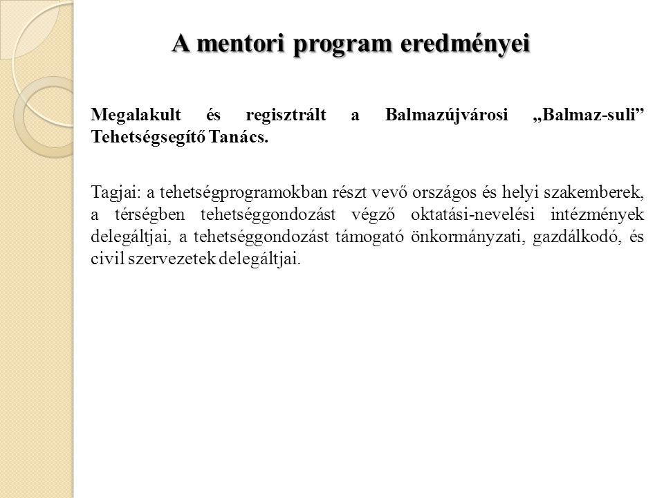 A mentori program eredményei