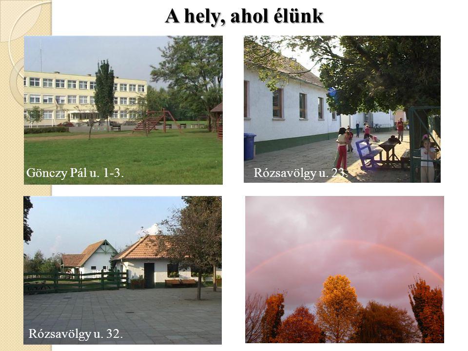 A hely, ahol élünk Gönczy Pál u. 1-3. Rózsavölgy u. 23.