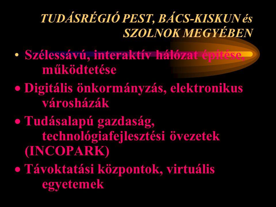 TUDÁSRÉGIÓ PEST, BÁCS-KISKUN és SZOLNOK MEGYÉBEN